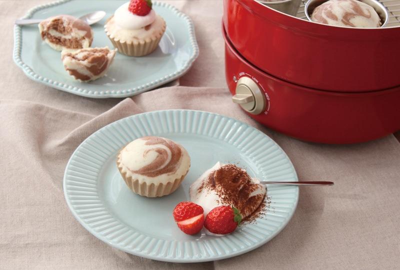 グリルポット レシピ マーブル蒸しケーキ